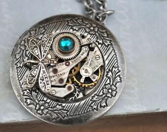 locket necklace, steampunk locket necklace, silver locket neklace, dragonfly necklace, THE TIME TRAVELER, jeweled watch movement necklace