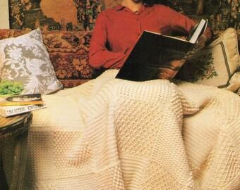 Vintage Crochet Pattern - Aran Fisherman Cable Afghan/Throw PDF download