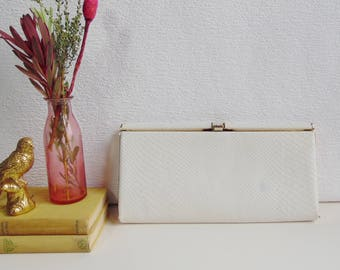 Vintage White Snakeskin Mock Croc Salisburys Box Clutch Bag with Gold Coloured Clasp Frame