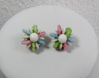Medium White, Pink, Blue and Green Beaded Flower Clip On Earrings, Vintage Earrings, 1960s, 1970s, Costume Jewellery,