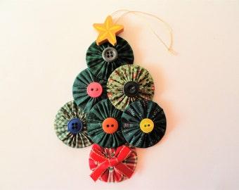 Yoyo Christmas tree ornament, fabric tree decoration, Christmas gift, handmade home decor, holiday decoration,