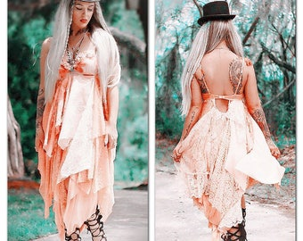 M Boho chic maxi dress, Spell Gypsy Fortune Teller Festival Tunic Dress, Boho tangerine gypsy sundress Music Festival, True Rebel Clothing