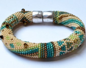 "Single Crochet with Beads ""Beginnings"" Bracelet Pattern & Instructions 3 Colorways Included"