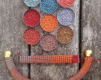 Bead Crochet Bracelet Kit Fabric Weave No. 2 Designer Series Pattern and Full Kit Single Stitch Bead Crochet Bracelet
