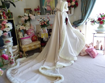 Sleeping Beauty Bridal Cape Champagne / Ivory Satin 52-96 inch Wedding Cloak Reversible Hooded with Fur Trim Handmade in USA