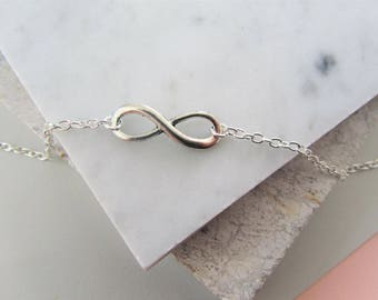 Infinity Charm Necklace, Silver Charm Necklace,Layering Necklace,Gift for Women,Bridesmaids Gift,silver Necklace,silver jewelry,Gift for her