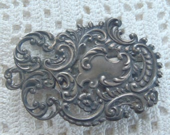 Vintage Buckle Repousse Sterling Silver Filigree