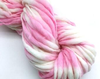 Handspun thick and thin yarn, spun super bulky in hand dyed merino wool -