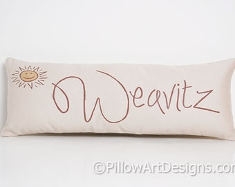 Small Beige Pillow with Name 6 X 18 Cotton Hand Made in Canada