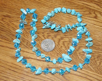 Long Strand of Turquoise and Crystal Beads plus Free USA Shipping!