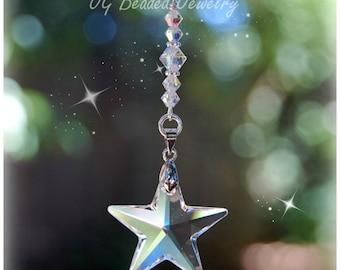 Swarovski Crystal Star Ornament, Rearview Mirror Car Charm, Hanging Star Window Crystal, Home Decor, Rear View Star