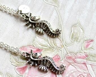 Hippocampus necklace Sea horse necklace Best friend necklace set of 2, 3 Personalized Best Friend gift set of 2, 3 Silver sea horse necklace