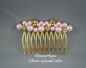 Wedding hair comb Pearl fascinator Ivory hair pin White headpiece Bridal accessories Beaded pearl comb Gold Rhinestone ball clusters