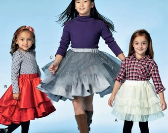 Girls' Tiered Skirt Pattern, Little Girls' High Low Ruffle Skirt Pattern, Special Event Pull On Skirt Pattern, McCall's Sewing Pattern 7498