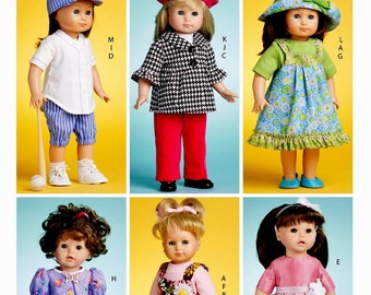 18 inch Doll Clothes Pattern, 18 inch Doll Coat and Hat Pattern, 18 inch Doll Sandals Pattern, McCalls Sewing Pattern 6137