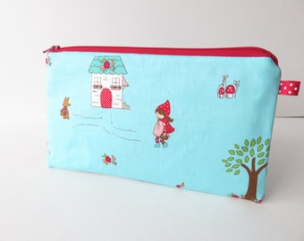 cotton fabric zippered pencil case