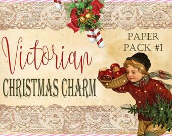 "Christmas Paper Digital Journal Kit ""Victorian Christmas Charm"" -  Christmas Paper Pack 1"