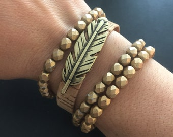 Bracelet - Feather Bracelet - Metallic Flecked Cork Featuring a Metal Feather - Gold or Silver With Matching Magnetic Closure