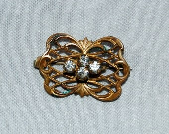Antique Victorian Brooch,  Clear Rhinestone Brooch, C Clasp Gold, Vintage old jewelry
