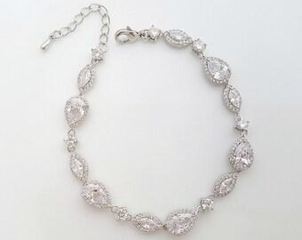 Wedding Bracelet Crystal Dainty Bridal Bracelet Wedding Jewelry Simple Bracelet Bridal Jewelry, Abby Bracelet