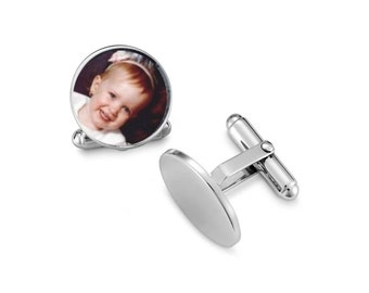 1 Set of Cuff Links Photo Memorial Glass Capped Silver - Free Shipping