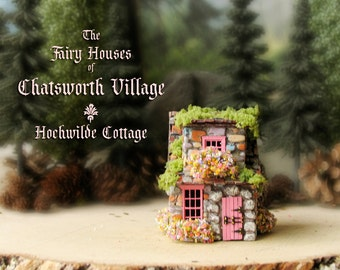 Fairy House of Chatsworth Village - The Hochwilde Cottage - Miniature Handcrafted Fae Chalet with Tiled Roof, Blooming Flower Boxes and Moss