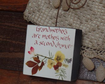 Grandmothers, mothers, second chance, stand-up box, 3x3x1.5, calligraphy, pressed flowers, decoupage