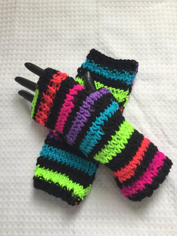 80s rainbow striped fingerless gloves