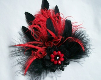 Red Feather Buttonhole - Black & Scarlet Gothic Steampunk Bespoke Feather Brooch Boutonniere Pin with Crystal and Lace Detail - Ready Made