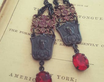 Bohemian Gypsy Religious Medal Spirituality Jewelry Gothic Dangle Earrings Upcycled Recycled