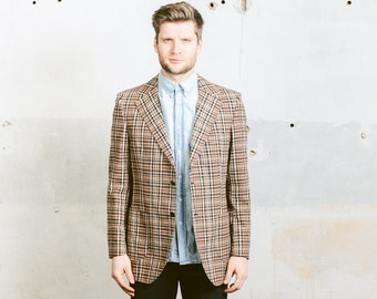 Vintage PLAID Blazer . Men's 70s RETRO Equestrian Jacket 1970s Preppy Style Ivy League Brown Jacket Checked Sport Coat . Medium