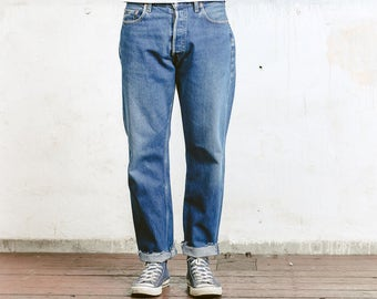 Men's LEVIS 517 Jeans . Denim Jeans Vintage Levis Red Tab Jeans 80s Disteressed Faded Ripped Jeans Straight Leg Size W33 Boyfriend Jeans
