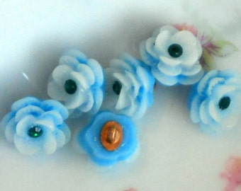 """Celluloid buttons, vintage Acrylic buttons,rose buttons,Blue Japan Flower Rose Button Rhinestone 1/2"""" Pretty Shabby Chic Cottage 3D #128B"""