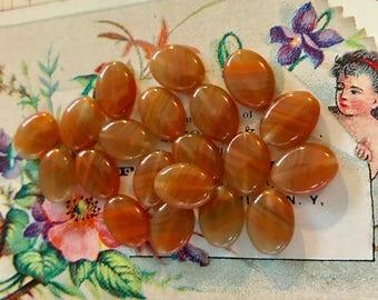Czech Glass Beads,Lentil Beads,Vintage Glass Beads, Burnt Orange beads,Tangerine beads,Swirl beads,Lentil Oval NOS Flat #7
