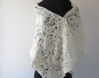 White Lace scarf  Felted scarf net lace White wedding Felt Scarf White wedding lace shawl hand spinning yarn by Galafilc