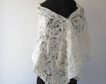 White Lace scarf  Felted scarf net lace White wedding Felt Scarf White wedding lace shawl hand spinning yarn by Galafilc outdoors gift