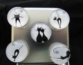 Cat magnet set in a gift tin, strong magnets each can hold 10 papers easily, neodymium magnets, office magnet set 604