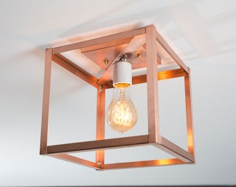 Flush Mount Ceiling Light - Semi Flush Mount Light - Copper Cage Lighting - Cube - Raw Copper or Patina Finish - UL Listed Light Fixture