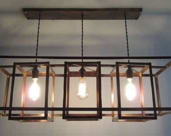 Modern Industrial Geometric Copper Hanging Chandelier - Long Rectangular Box Shades - Rustic Brown Patina - For Level or Vaulted Ceiling