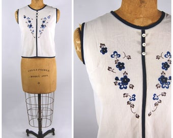 1950s Sleeveless Top - Blue and White Nylon Floral Blouse - XSMall