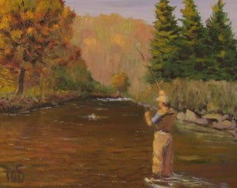"Fly fishing Art, small oil painting, 6""x8"", mountain stream"
