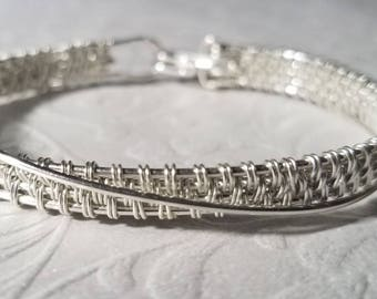 Sterling Silver Woven Wire Crossover Bracelet