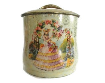 Vintage Tin Southern Belle Crinoline Lady Garden Handle