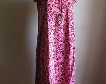 Flowy Batik Pink Rayon Dress • Bohemian Freespirit Dress • S to M