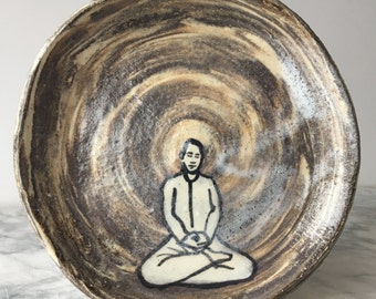 Marbled ceramic small plate buddha painting, agateware slip art yoga meditation figure halo