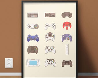 Video Game Controller, Video Game Poster, Video Game Decor,  Gift For Him, Man Cave, Xbox Video Game Gift, Video Game Print, Nintendo Poster