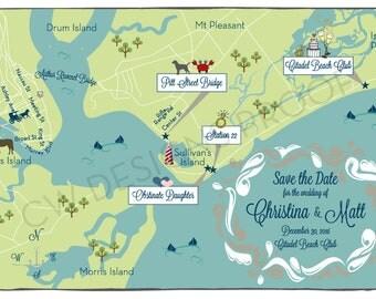 Custom Wedding Map, Wedding Map Invitation, Desitnation Wedding --Sample for Charleston, South Carolina