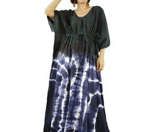 Limited Edition...Black Dip Dye & Dark Navy Blue Tie Dye Light Cotton Oversize V Neck Empire Waist Maxi Kaftan Women Top Maxi Dress