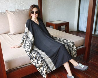 One Of A Kind - Cold Shoulder Black Ikat & Graphic Pinted Black Light Nano Rayon Cotton Kaftan Dress Poncho Dress Women Tops Maxi Dress