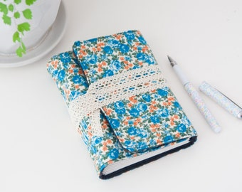 Floral Travel Journal Diary. Unlined Journal Notebook. Blue and Orange Writing Journal. Travel Journal. Gift for Women. Vegan Journal